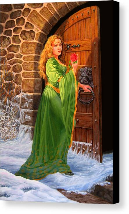 Medievil Canvas Print featuring the painting Winter's Last Rose by Pat Lewis
