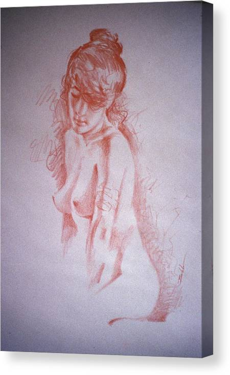 Nude Canvas Print featuring the pastel Laurie by Eric Bakke