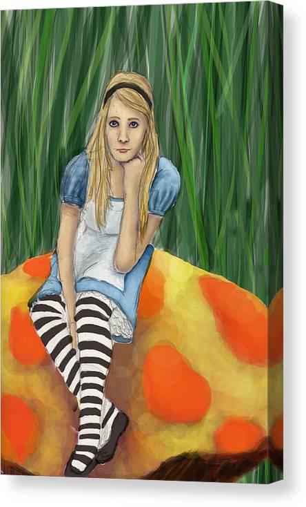 Canvas Print featuring the digital art Alice In Wonderland by Aimee Helsper