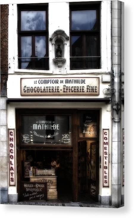 Bruxelles Chocolaterie Canvas Print featuring the photograph Bruxelles Chocolaterie by Georgia Fowler