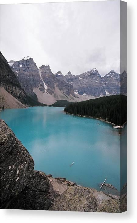 Landscape Canvas Print featuring the photograph Lake Moraine by Caroline Clark