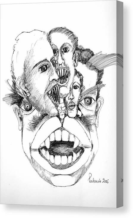 Surreal Canvas Print featuring the drawing Nightmares by Padamvir Singh