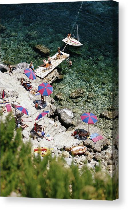 People Canvas Print featuring the photograph Porto Ercole by Slim Aarons