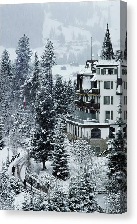 Gstaad Canvas Print featuring the photograph Grand Hotel Alpina by Slim Aarons