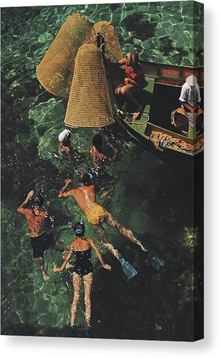 People Canvas Print featuring the photograph Snorkelling In Malta by Slim Aarons