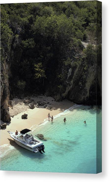 People Canvas Print featuring the photograph Trip To Little Bay by Slim Aarons