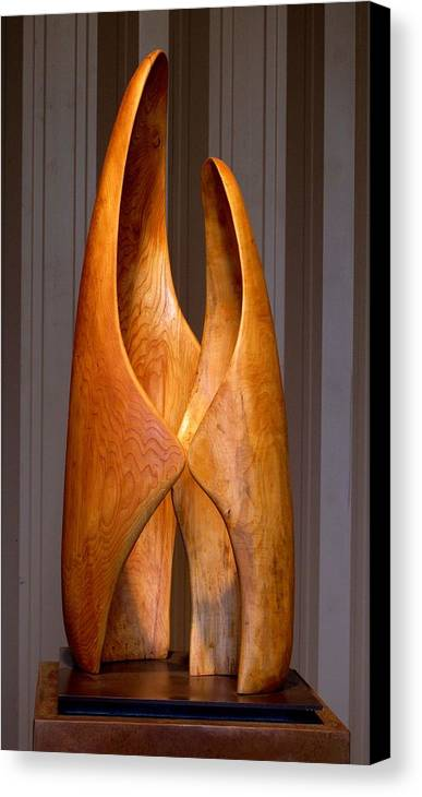 Wood Canvas Print featuring the sculpture Touching by Robert Hartl