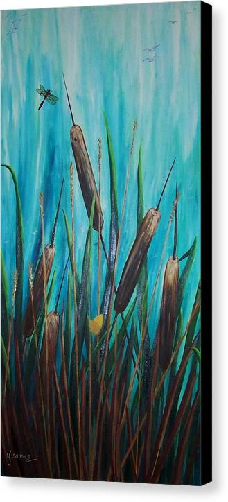 Cat-tails By The Shore Canvas Print featuring the painting By The Shore Cat -tail by Yvonne Kinney