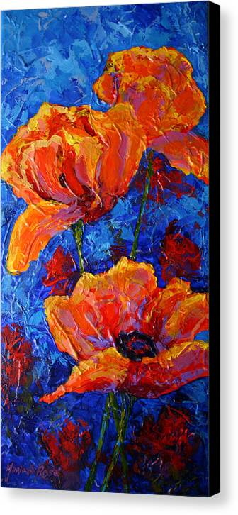 Poppies Canvas Print featuring the painting Poppies II by Marion Rose
