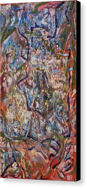 Abstract Red Yellow Pattern Canvas Print featuring the painting Red City by Joan De Bot