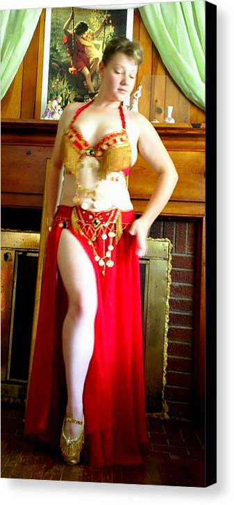 Belly Dancer Canvas Print featuring the photograph Red Costume by Scarlett Royal