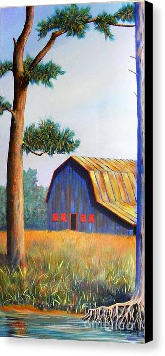 Barn Canvas Print featuring the painting Riverbank Barn by Hugh Harris