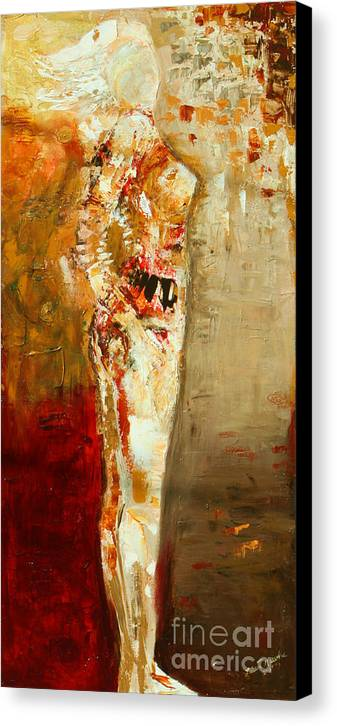 Nude Canvas Print featuring the painting Textured Nude by Lauren Marems