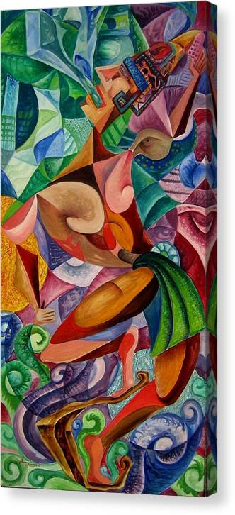 Painting Paintings Mexican Art Painting Canvas Print featuring the painting Balancing With What Is Given by Horacio Montes
