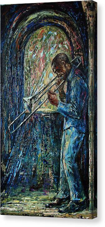 Musician Canvas Print featuring the painting Bluesy Morning by Natasha Mylius