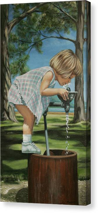Children Canvas Print featuring the painting The Fountain by Colleen Maas-Pastore