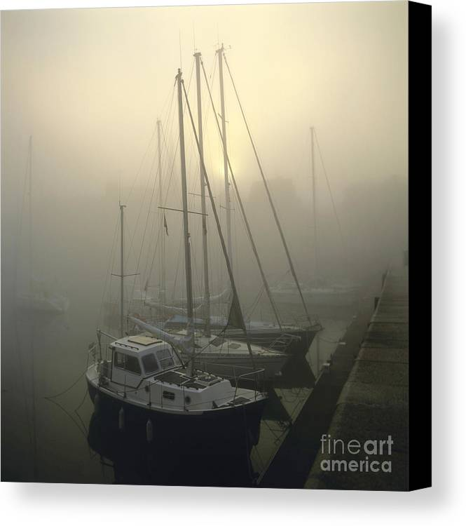 Ambiance Ambient Atmosphere Atmospheric Boat Boats Calvados Day Daylight Daytime During Europe European Exterior Exteriors Filled Fog Foggy France French Full Harbor Harbour Harbour Haze Hazy Honfleur In Mist Mists Misty Mood Mood-filled Moods Nobody Normandy Of Outdoor Photo Photos Port Ports Shot Shots The Canvas Print featuring the photograph Honfleur Harbour In Fog. Calvados. Normandy. France. Europe by Bernard Jaubert
