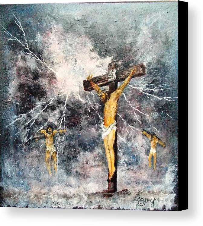 Religious Canvas Print featuring the painting 3 O'clock by Walter Carrick