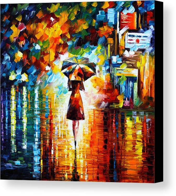 Rain Canvas Print featuring the painting Rain Princess by Leonid Afremov