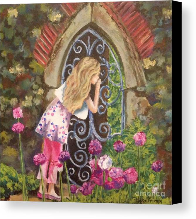 Girl Canvas Print featuring the painting A Secret Garden by Tanya Gerber