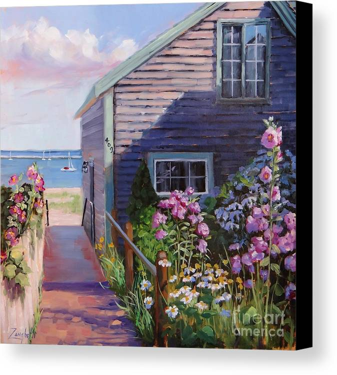 Laura Zanghetti Canvas Print featuring the painting A Visit To P Town Two by Laura Lee Zanghetti