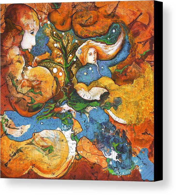 Earth Canvas Print featuring the painting A World Apart by Valerie Graniou-Cook