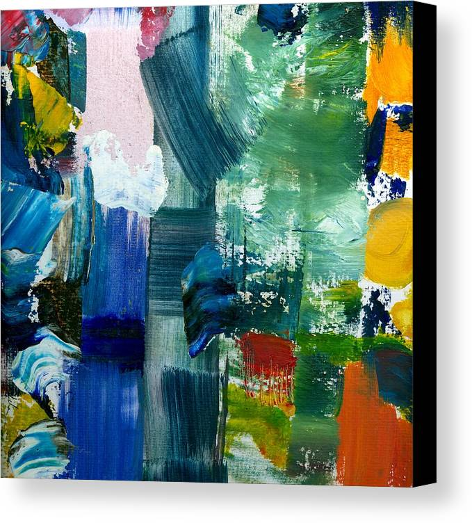 Abstract Collage Canvas Print featuring the painting Abstract Color Relationships Lll by Michelle Calkins