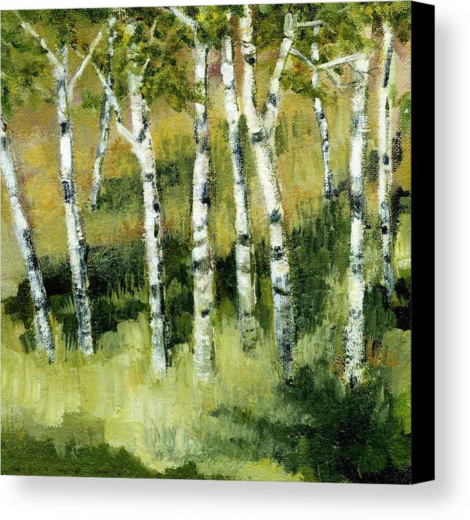Trees Canvas Print featuring the painting Birches On A Hill by Michelle Calkins