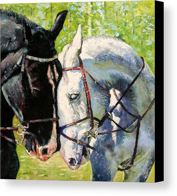 Horses Canvas Print featuring the painting Bridled Love by John Lautermilch
