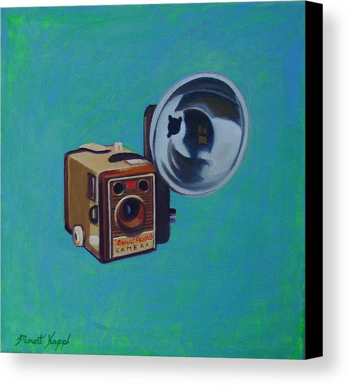 Vintage Canvas Print featuring the painting Brownie Box Camera by The Vintage Painter