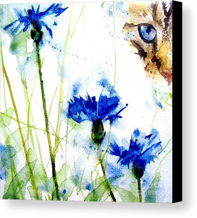 Tabby Canvas Print featuring the painting Cat In The Cornflowers by Paul Lovering