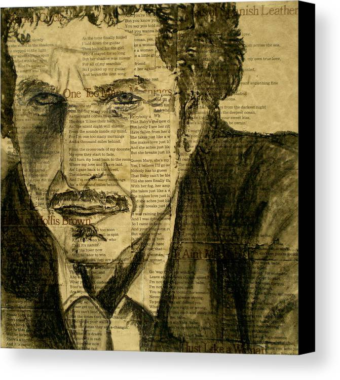 Dylan The Poet Canvas Print featuring the drawing Dylan The Poet by Debi Starr