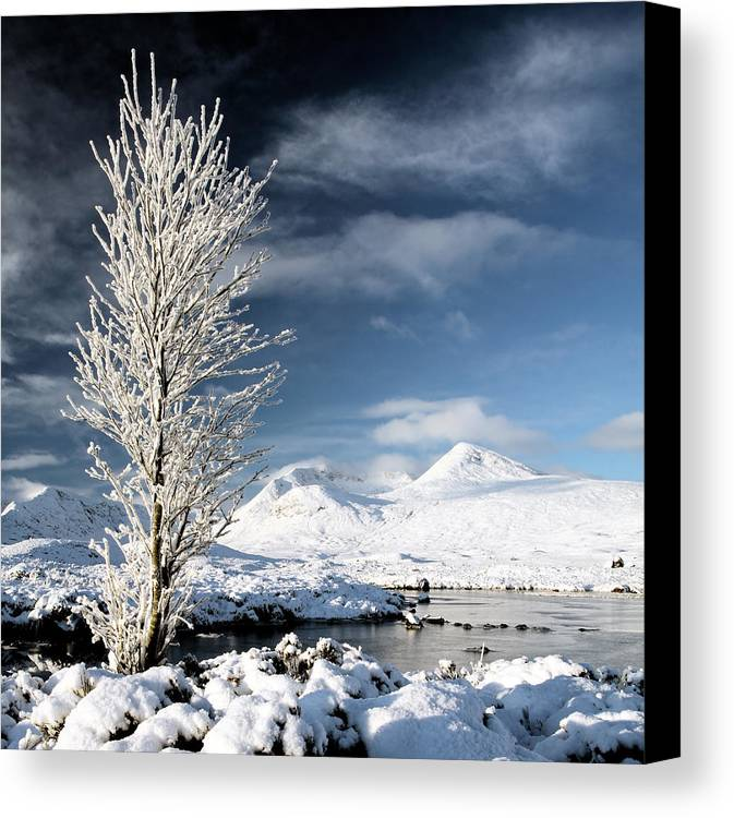 Snow Covered Landscape Canvas Print featuring the photograph Glencoe Winter Landscape by Grant Glendinning