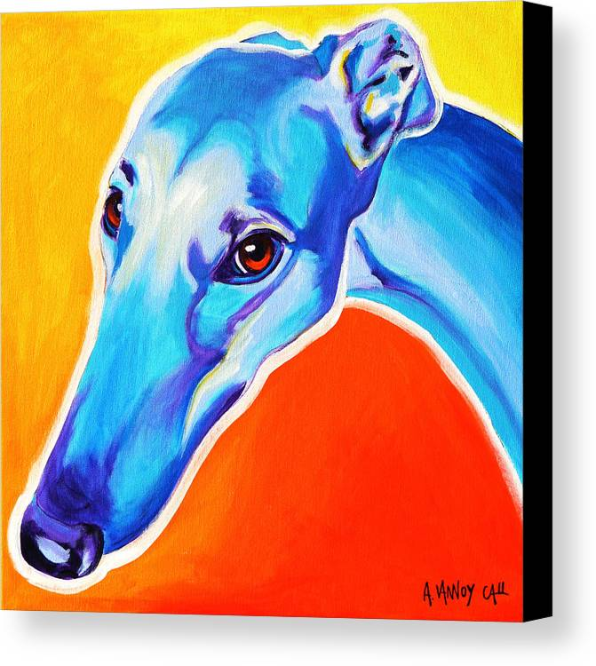 Greyhound Canvas Print featuring the painting Greyhound - Lizzie by Alicia VanNoy Call