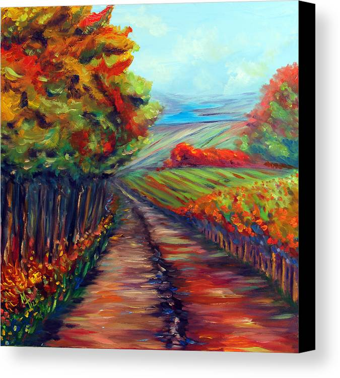 Landscape Canvas Print featuring the painting He Walks With Me by Meaghan Troup