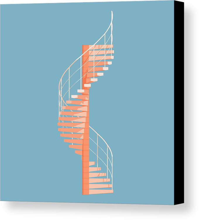 Architecture Canvas Print featuring the digital art Helical Stairs by Peter Cassidy