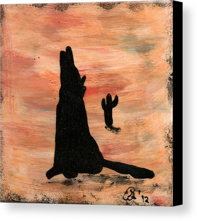 Howling Canvas Print featuring the ceramic art Howling At The Moon by Gail Schmiedlin
