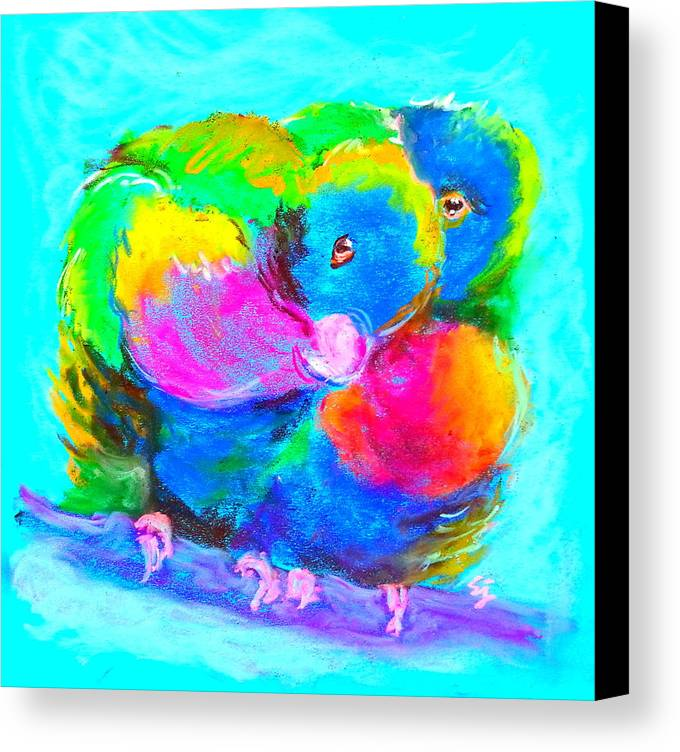 Rainbow Lorikeets Canvas Print featuring the painting In Love Birds - Lorikeets by Sue Jacobi