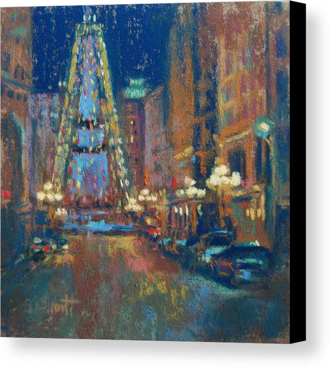 Indianapolis Canvas Print featuring the painting Indy Circle Christmas by Donna Shortt