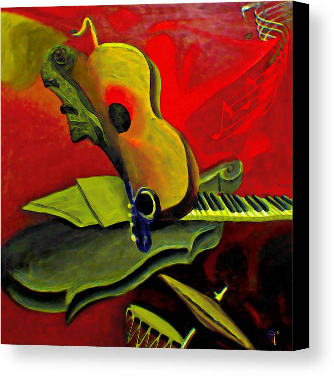Abstract Canvas Print featuring the painting Jazz Infusion by Fli Art