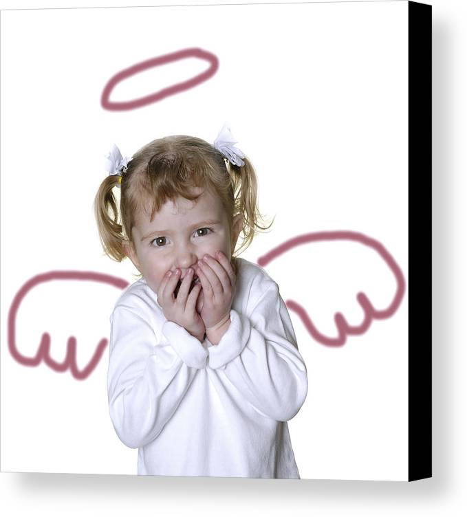 Adorable Canvas Print featuring the photograph Little Girl Angel by Lane Erickson
