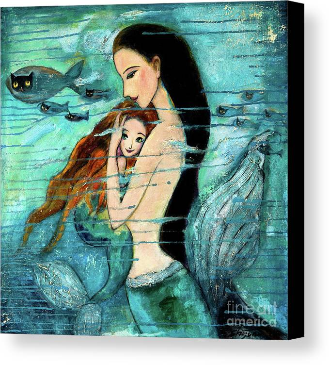 Mermaid Art Canvas Print featuring the painting Mermaid Mother And Child by Shijun Munns