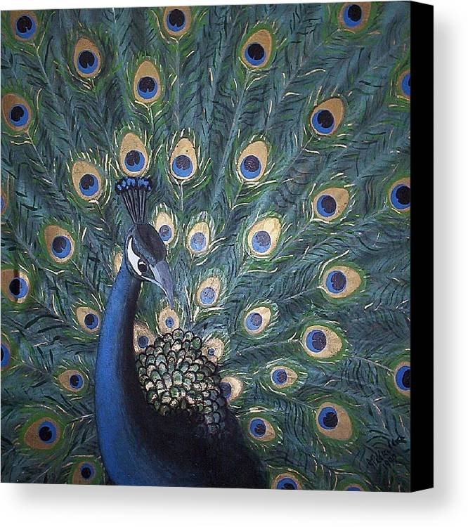 Peacock Canvas Print featuring the painting Peacock by Joan Stratton