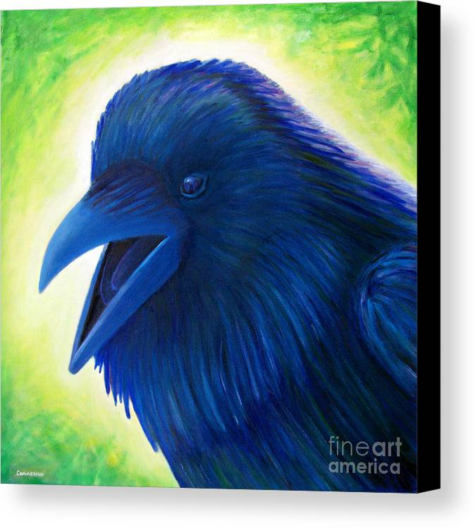 Raven Canvas Print featuring the painting Raaawk by Brian Commerford