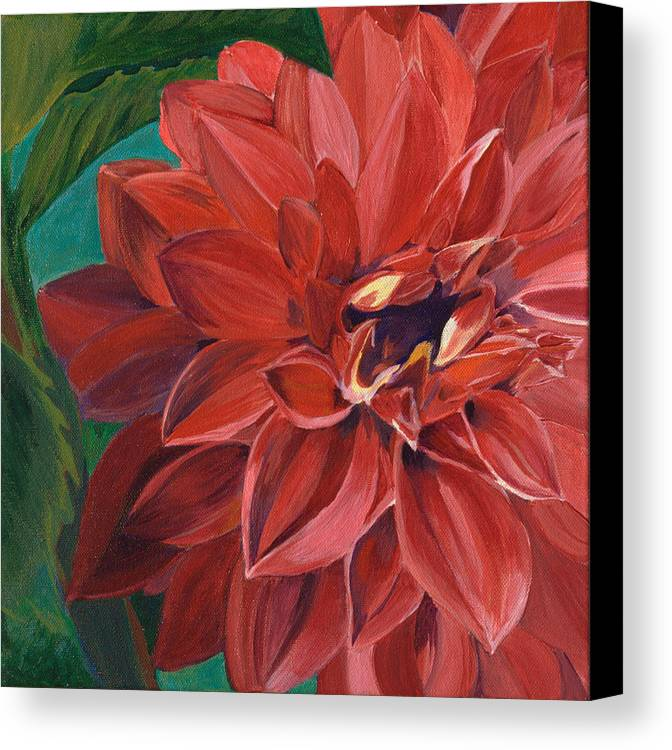 Close Up Of Red Dahlia In Garden Canvas Print featuring the painting Rachael's Dahlia by Jodi Terracina