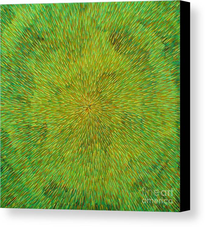 Abstract Canvas Print featuring the painting Radiation With Green Yellow And Orange by Dean Triolo