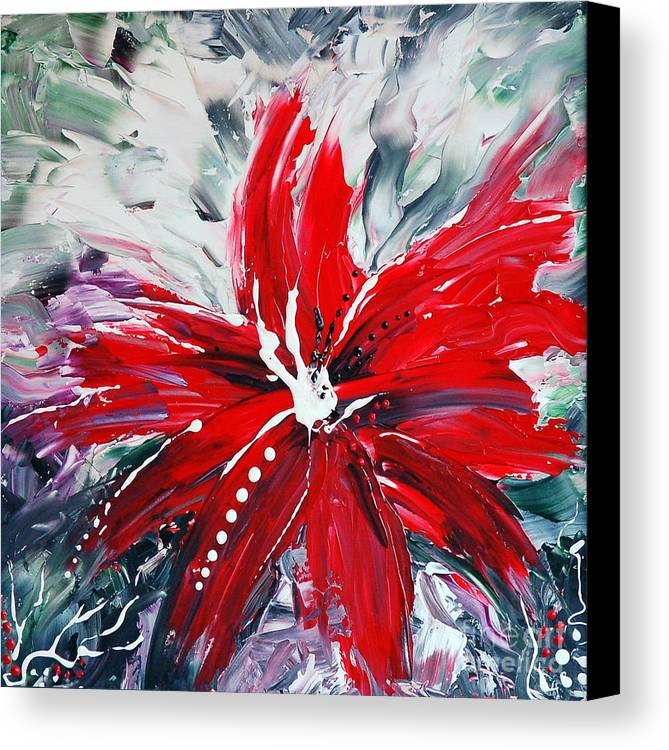 Abstract Canvas Print featuring the painting Red Beauty by Teresa Wegrzyn