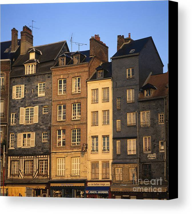 Apartment Architecture Building Buildings Calvados Condo Condominium Condominiums Condos Day Daylight Daytime During Estate Europe European Exterior Exteriors Facade Facades France French Front Fronts Harbour Honfleur House Houses Housing Market Markets Nobody Normandy Of Outdoor Photo Photos Properties Property Real Realties Realty Row Shot Shots The Canvas Print featuring the photograph Row Of Houses. Honfleur Harbour. Calvados. Normandy. France. Europe by Bernard Jaubert