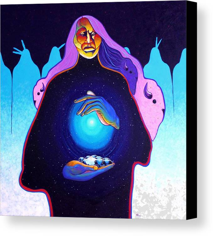 Spiritual Canvas Print featuring the painting She Carries The Spirit by Joe Triano