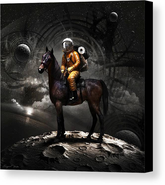 Space Canvas Print featuring the digital art Space Tourist by Vitaliy Gladkiy